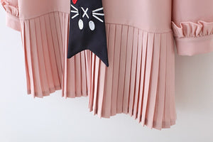 Girls Dress Long Sleeve Pink Color Fashion Dress with Cat Tie Cute Spring Clothes Children Dressing Princess Clothing