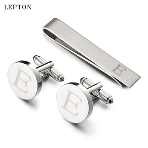 Lepton Letters Cufflinks & Tie Clips Set Silver Color Letters Of An Alphabet E Cufflinks For Mens Shirt Cuffs Cufflink Gemelos