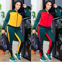 2 TWO PIECE SET CONTRAST Color Women Trendy Tracksuit Pants Sweat Suit Winter Outfits Leisure Sweatsuits Plus Size Fashionnova