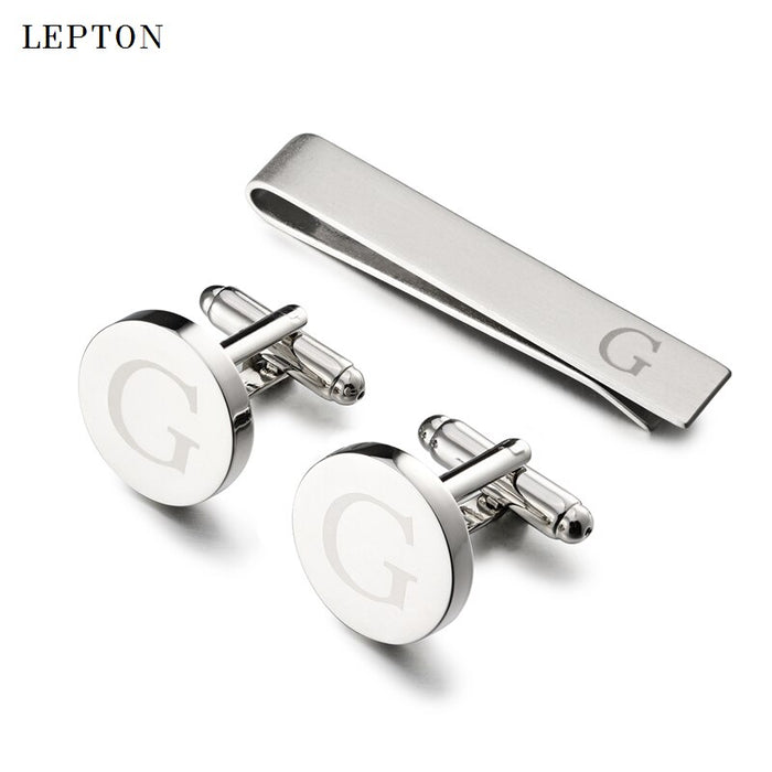 Lepton Round Laser Letter Cufflinks And Tie Clips Set  Letters G Cuff links For Mens French Shirt