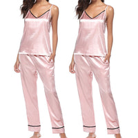 Silk Pajamas for Women Satin Women Pajamas Sets Crop Strap Top+Pants Women Silk Pajamas