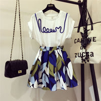2020 New Fashion Summer Ladies Skirt Suit Women's Letters Short Sleeved T-shirt + High Waist Print Short A-line Skirt Two Pieces