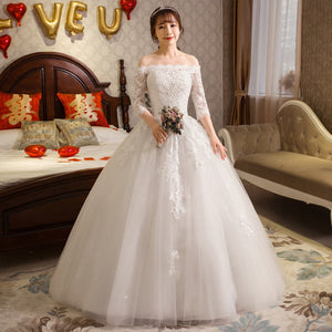 Gorgeous Lace Wedding Dresses Tulle Appliques 3/4 Sleeve Boat Neck Ball Gown Wedding Dresses Long Elegant Bride Dresses 2019
