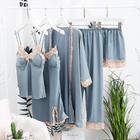 Spring Women Sleepwear Sexy Lace Lingerie Pyjamas Women Lingerie Female Pajama Female Suit 5 Pieces Sets With Chest Pads
