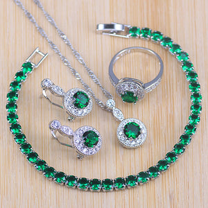 2019 New Arrival 925 Silver Jewelry Sets For Women Wedding Party Green Crystal Earrings Bracelet Rings Necklace Pendant Set
