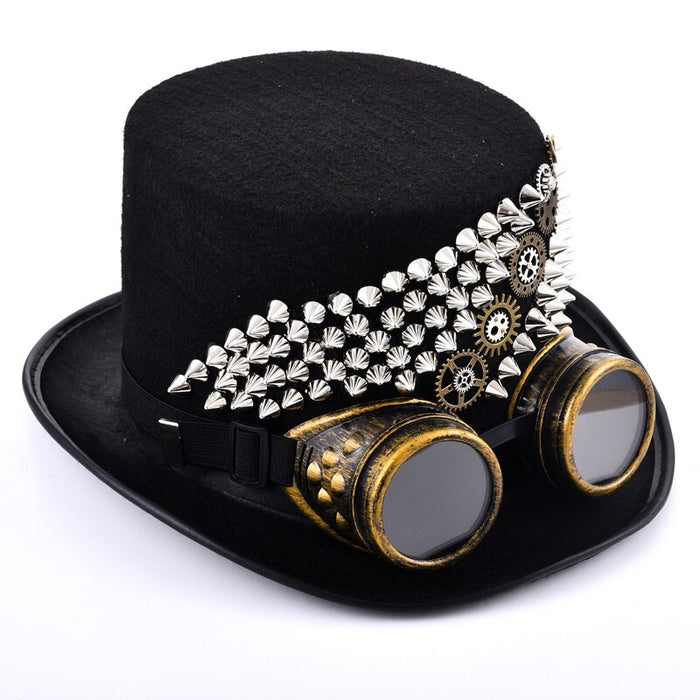 Steampunk Men Rivets Fedora Steam Punk Hat Gears Spikes Goggles Top Hat