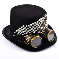 Steampunk Men Rivets Fedora Woman Steam Punk Hat Gears Spikes Goggles Top Hat Gothic Party Hats with Glasses Cos Accessories