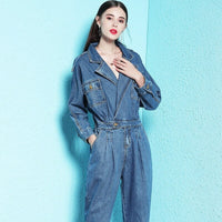 Nordic Winds 2018 autumn new style jumpsuit woman denim shorts casual top v-neck blue jumpsuit women winter nw18c2902