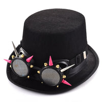 Steam Punk Black Fedora Victorian Top Hat With Pink Silver Rivets Goggles Women Men Steampunk Glasses Hat Party Accessories Goth