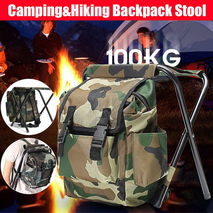Folding Camping Fishing Chair Backpack Fishing Stool Backpack with Cooler Insulated Picnic