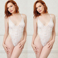 Womens Lace Sheer Lingerie V Neck See-through Mesh Bodysuit Sleepwear Babydoll Nightwear Sexy Lace Boduysuit Mesh Skirt Hot Sale
