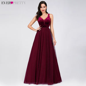 Elegant Evening Dresses Ever Pretty EP07849 Burgundy Sexy Formal Party Gowns 2019 Sparkle Tulle Women's Wedding Party Gown