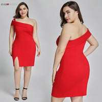 Plus Size Red Gown Short 2019 Pretty New Year Red Formal Dress Fashion EP05852 Split Backless Sexy Cocktail Dresses Vestidos