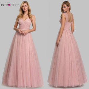 Pink Simple Evening Dresses Long Ever Pretty V-Neck A-Line Sleeveless Tulle Women Elegant Formal Party Dresses Robe De Soiree