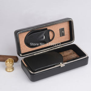 Executive Black Leather Cigar Case Cedar Lined Cigar Holder Mini Humidor With Cutter - Personalized Gift for Men