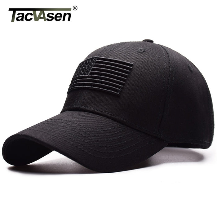 TACVASEN Tactical Baseball Cap Men Summer USA Flag Sun Protection Snapback Cap Male Fashion