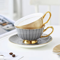English Style Brief Afternoon Tea Coffee Cup Saucer Sets Bone China Delicate Golden Tazas Xicaras Tasse Cafe Coffe Koffie Kopjes
