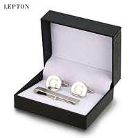 Lepton Round Laser Letter Cufflinks And Tie Clips Set  Letters G Cuff links For Mens French Shirt Cuffs Cufflink Relojes Gemelos