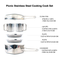 ABGZ-Backpacking Camping Cookware Pot Set Outdoor Mess Kit Stainless Steel Camping Cook Set For Hiking Backpacking Trekking