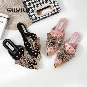 SWYIVY Women Flat Mules Slipper Pointed Toe 2019 Fashion Rivet Summer Shoes Women Black/pink Shoes Female Luxury Half Slippers