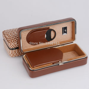 COHIBA Travel Cigar Case  Snake Pattern Leather Cedar Wood Lined Cigar Holder Mini Humidor  with Cutter