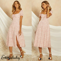 2019 New arrival Women's Boho Square Collar Dress Polka Dot Evening Party Ladies Clubwear Sundress Summer