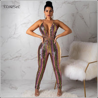 Women Sexy Sequined Spaghetti Strap Skinny Jumpsuit Backless Deep V Glitter Leggings Shiny Romper Nightclub Party Dance Overalls
