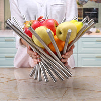 Storage Fold Fruit Bowl Basket Household Kitchen Accessories Rotate Strainer Fashion Plate Tray Stainless Steel