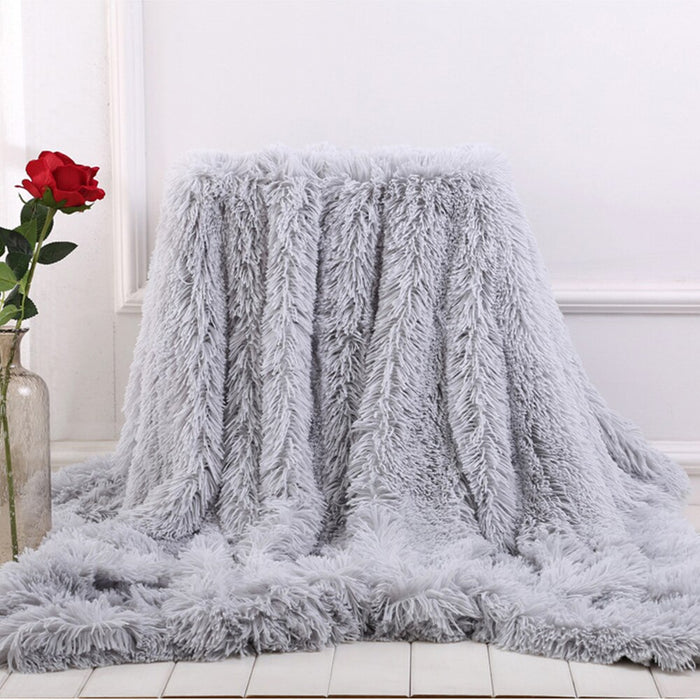 Throw Blanket on the Couch Long Shaggy Fuzzy Fur Faux Bed Sofa Blankets