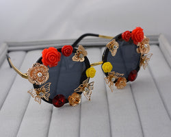 Fashion  Baroque Rose Flower Sunglasses for Women Round Sun Glasses Mirror Butterfly Eyewear Oculos De Sol Feminino Brand Design