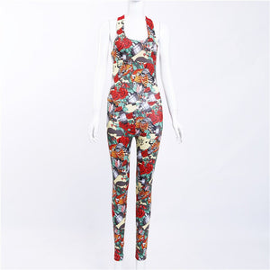 One Piece Sexy Gym Clothing Suit Floral Print Backless Padded Yoga Set Fitness Running Tight Dance Sport Wear Clothes