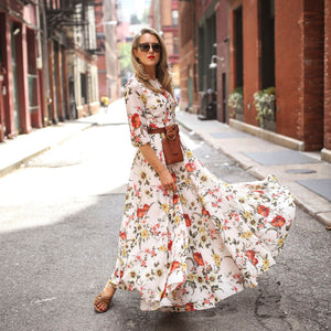 Trendy Women's Maxi Boho Dress Floral Summer Beach Cocktail Party Long Sundress