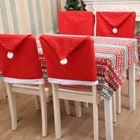 New Santa Claus Hat Shape Table Decorations Christmas Chair Clause Pack of Back Christmas