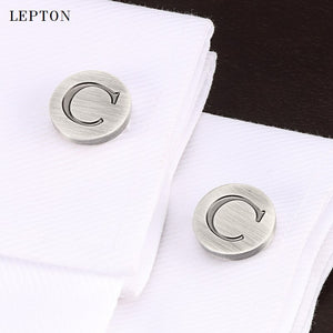 Lepton Letters of an alphabet C Cufflinks For Mens Classic Antique Silver Round Letters C cuff links Men shirt cuffs Cufflink