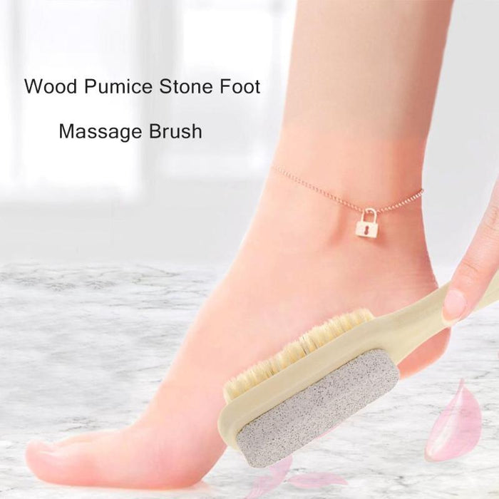 Wood Pumice Stone Foot Massage Brush Feet Exfoliating Remover Scrubber Tool  Remover