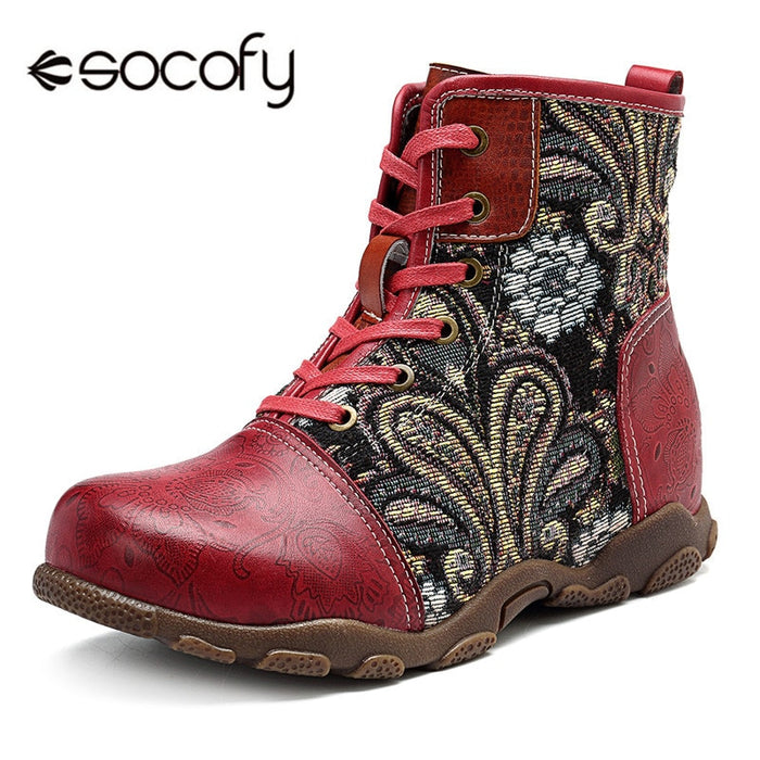 Socofy Vintage Motorcycle Ankle Boots Women Shoes Woman Genuine Leather Bohemian Western Cowboy Boots Casual Sneakers Booties