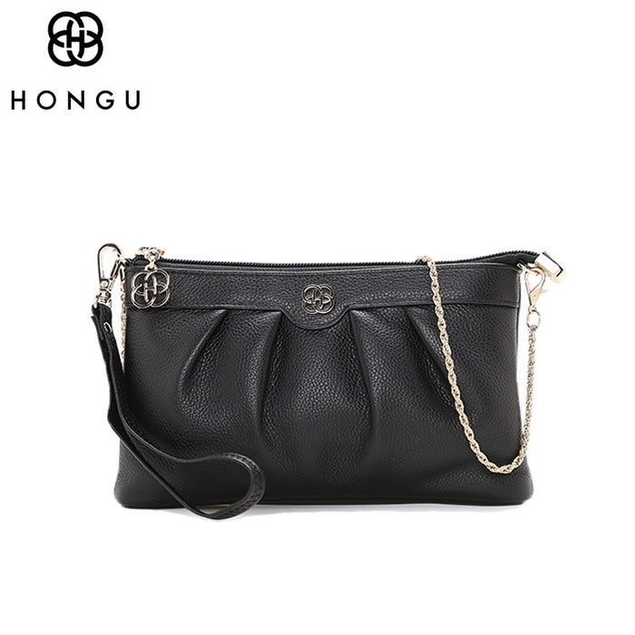 HONGU Luxury Handbags Top Layer Cow Leather Shoulder Bag Women Chains Messenger Bags Famous Brands Genuine Leather Crossbody Bag