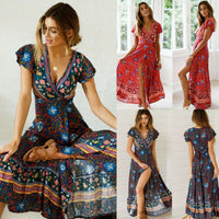 Vintage Cardigan Waist Dresses Women Floral Clothes Short Sleeve Boho Maxi Long Split Dress