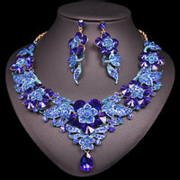 Luxury Flowers Leaves Crystal Jewelry Sets Women's Dating Earrings Necklace Set Indian Bridal Costume Jewellery Gifts For Women