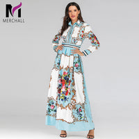 Newest Fall 2019 Runway Designer Maxi Dress Women's Long Sleeve Gorgeous Floral Printed Elegant Autumn Long Party Dress Vestido