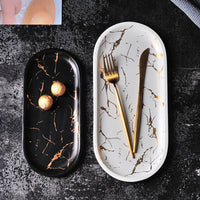 Gold Inlay Marble Ceramic Cake Plate Dish Tableware Set Service Tray Kitchen Porcelain Jewelry Plate Dinnerware Dropshipping