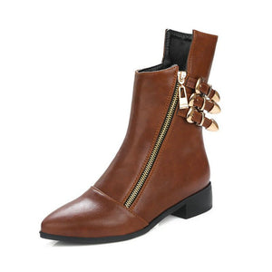 ZawsThia Autumn Winter Chunky Thick Square Low Heel Woman Shoes Punk Zipper Metal Buckle Ankle Boots Women Chelsea Martin Boots