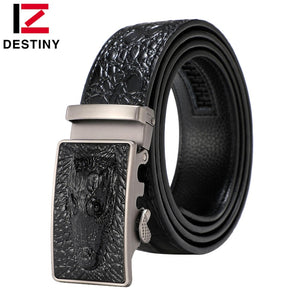 DESTINY Crocodile Belt Designer Belts Men High Quality Male Genuine Leather Strap Man Luxury Famous Brand Automatic Cowather New