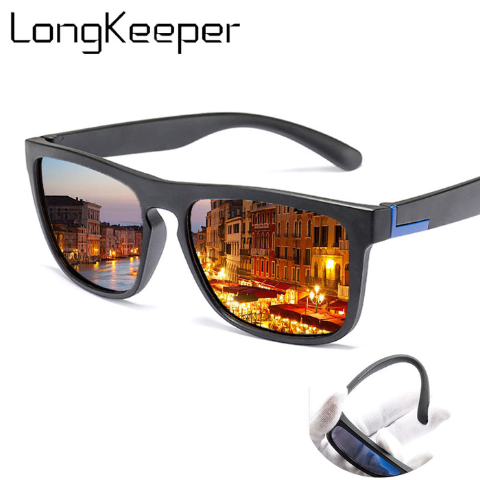 Men Polarized TR90 Sunglasses Vintage Anti-UV Driving Driver Black Goggles Eyewear Rectangle