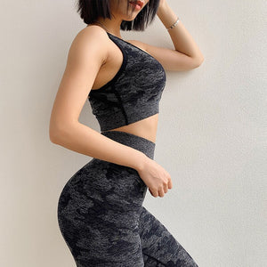 Camo Seamless Yoga Set  Fitness Sports Wear For Woman Gym Clothing High Waist Yoga Pants Push Up Sports Bra 2 Piece Sport Suit