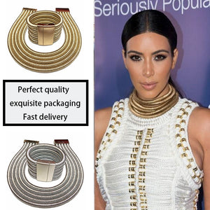 African Jewelry Set Fashion Choker Necklace Sets for Women Kim Kardashian Bohemia Bracelet Statement Jewelry Magnetism Button