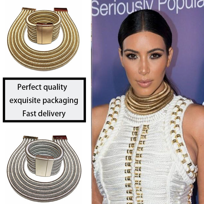 African Jewelry Set Fashion Choker Necklace Sets for Women Kim Kardashian Bohemia