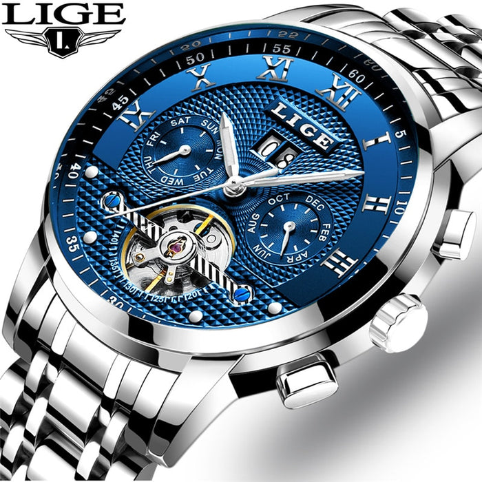 Mens Watches LIGE Top Brand Luxury Tourbillon Automatic Mechanical Watch Mens Business