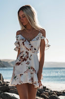 Women Boho Floral Dress Chiffon Summer Party Evening Beach Mini Dress Sexy Women Clothes Off Shoulder Sundress