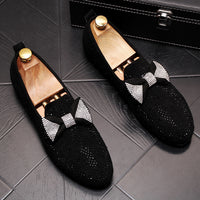 CuddlyIIPanda Luxury Designer Men Butterfly-knot Casual Loafers Male Bling Crystal Rhinestone